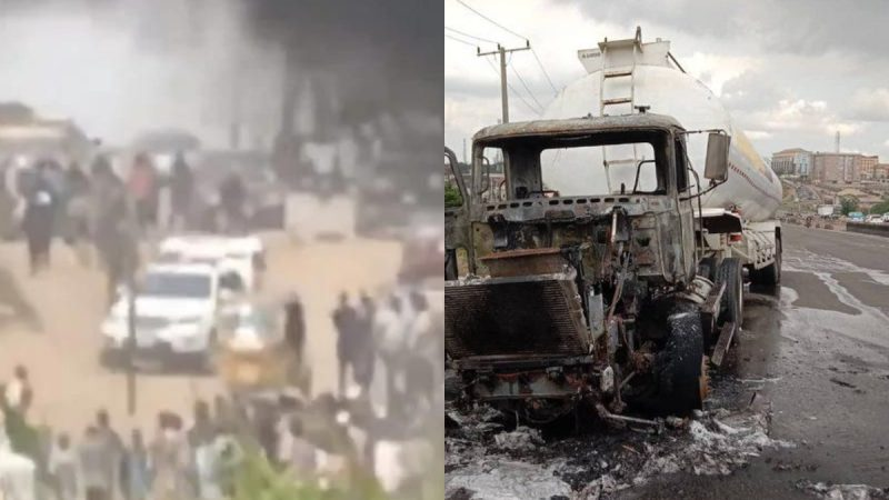 4 Dead As Protest Hits Lagos + Warning! Tanker Catches Fire At Otedola Bridge Again